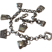 Charming Genuine Brighton Silver Tone Purse Charm Bracelet