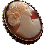Lovely Vintage A & Z 12K Gold-Filled Carved Shell Cameo Pin/Pendant