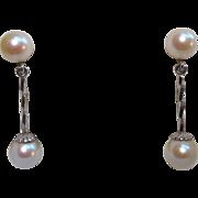 Gorgeous 14K & Cultured Pearl 1920's Flapper Screwback Earrings