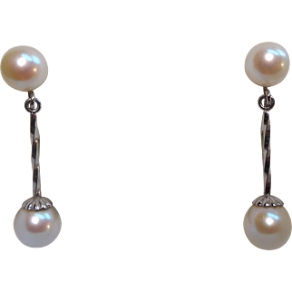 Gorgeous 14K & Cultured Pearl 1920's Flapper Screwback Earrings