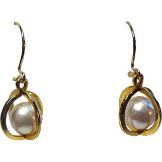 Beautiful 14K Gold-Filled & Cultured Pearl Cage Earrings