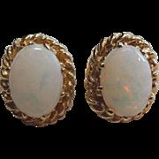 Vintage 14K Yellow Gold & Genuine Opal Stud
