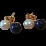 Beautiful 14k Gold, Cultured Pearl & Lapis Lazuli Post Stud Earrings