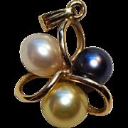 Lovely 14K Gold & Multi-Color Pearl Pendant