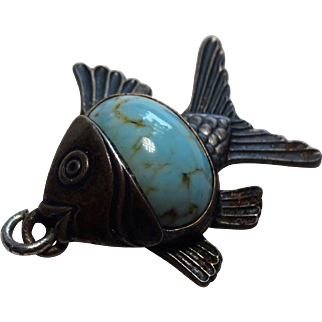 Fantastic Vintage Danecraft Sterling & Turquoise Fish Pendant
