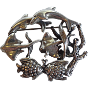 Mexico Sterling Ocean Dolphin Stingray Brooch