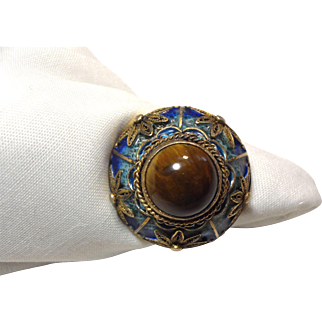 Wonderful Chinese Export Gilded Silver, Enamel & Tiger Eye Ring