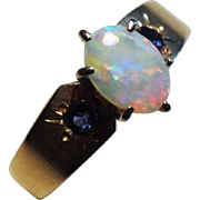 Gorgeous 14K Yellow Gold, Australian Opal & Natural Sapphire Ring