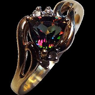 Lovely 10K Gold, Diamond & Mystic Topaz RIng