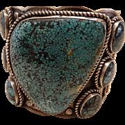Spectacular Vintage B. Johnson Huge Navajo Spiderweb Turquoise Cuff Bracelet