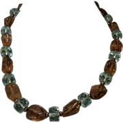 Gorgeous Genuine Gemstone Blue Crystal & Smokey Quartz Bead Necklace