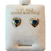 Sweet 14k Gold & Genuine Blue Topaz Pierced Heart Earrings