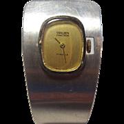 Amazing Mid-Centurd Gruen Manual Wind Sterling Silver Cuff Watch - Works