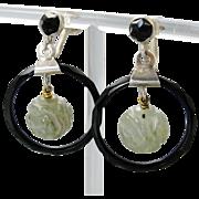 Vintage Carved Jade Beads Black Celluloid Hoop Earrings Deco Modernist