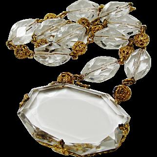 Exquisite 1920's Art Deco Signed Czech Clear Glass Bridal Necklace