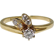14K Gold Five Diamond Flowerbud Ring Size 5.5 Engagement Promise
