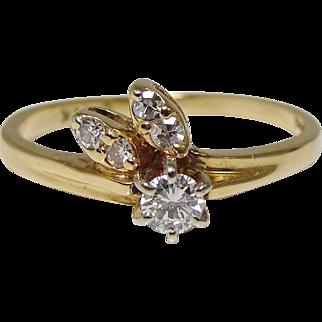 14K Gold Five Diamond Flowerbud Ring Size 5.5 Engagement Promise