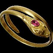 Antique Art Nouveau Coiled Snake Bracelet Pink Glass Gilt Brass Open Mouth