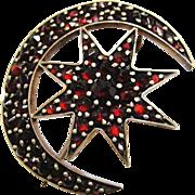 Antique Victorian Rose Cut Bohemian Garnet Pyrope Brooch Crescent Moon & Star