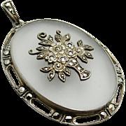 Large Art Deco Genuine Rock Crystal Sterling Silver Marcasite Flower Basket Pendant