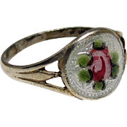 Art Deco Edwardian Baby Ring Sterling Silver Guilloche Enamel Pink Rose