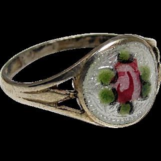 Art Deco Edwardian Baby Ring Sterling Silver Guilloche Enamel Pink Rose