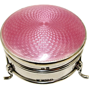 1920's Art Deco English Sterling Silver Pink Guilloche Enamel Ring Box Casket
