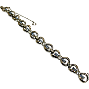 Retro Art Deco 40's Rhodium Blue & Clear Rhinestone Crystal Bow Bracelet