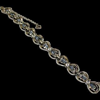 Retro Art Deco 40's Rhodium Blue & Clear Rhinestone Crystal Bow Bracelet