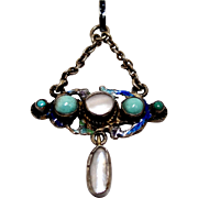 Victorian Austro Hungarian Silver Lavaliere Pendant Turquoise Enamel Mother of Pearl