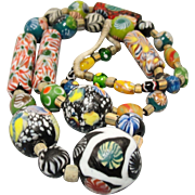"Spectacular 27"" Venetian Millefiori Glass African Trade Bead Necklace"