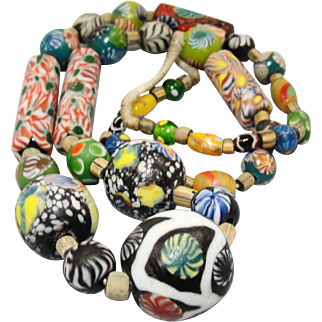 "Spectacular 27"" Venetian Millefiori Glass African Trade Bead Necklace"