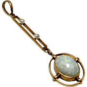 RESERVED Antique 10K Edwardian Gold Opal Pearl Lavaliere Pendant