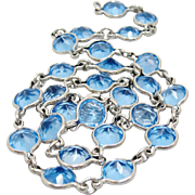 Art Deco Sterling Silver Bezel Set Blue Crystal Necklace Choker