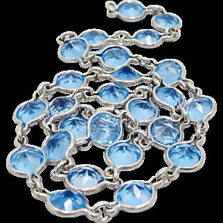 Art Deco Sterling Silver Bezel Set Blue Crystal Necklace Choker