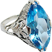 Art Deco 14K White Gold Filigree Blue Stone Ring Size 6