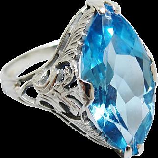 Gorgeous Antique Art Deco 14K White Gold Filigree Simulated Blue Topaz Ring Size 6
