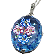 1920's Art Deco Sterling Silver Czech Blue Floral Millefiori Glass Pendant Necklace