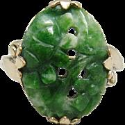 Art Deco Carved Jade 10K Gold Filled Ring Antique 1920 Size 7