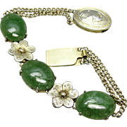 Chinese Export Aventurine Gemstone Flowers & Paradise Bird Bracelet China Silver