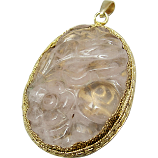 Chinese Export Carved Rose Quartz Gold Vermeil Filigree Pendant