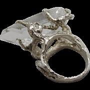 Rock Crystal Quartz & Sterling Silver Ring Gothic Brutalist Claw 1970s Studio Art