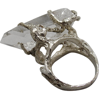 Spectacular Rock Crystal Quartz & Sterling Silver Ring Gothic Brutalist Claw 1970s Studio Art