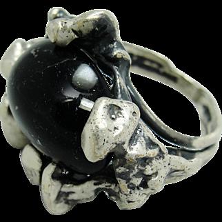 1970's Brutalist Ring Onyx & Sterling Silver Studio Art