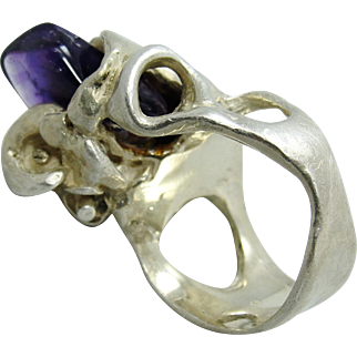 1970's Studio Art Ring Amethyst & Sterling SIlver Gothic Brutalist Lily