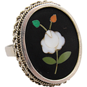 European Pietra Dura Floral Micro Mosaic Ring 800 Silver Size 8
