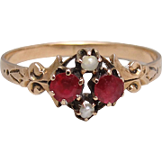 Antique Victorian Edwardian 14K Gold Garnet Seed Pearl Ring Size 7.5