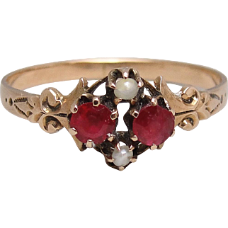 c1890 Victorian 14K Gold Garnet Seed Pearl Ring Size 7.5