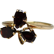 Antique 10K Gold Garnet Clover Ring Size 4.75