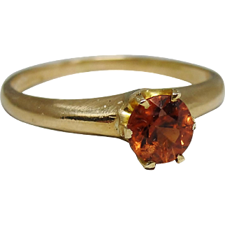 c1900 Antique 14K Gold Hessonite Garnet Solitaire Ring Size 5.75